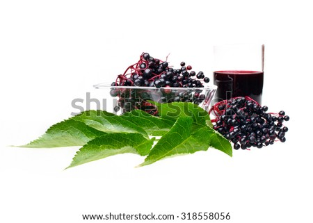 Fresh fruit elderberry on white isolated background - stock photo