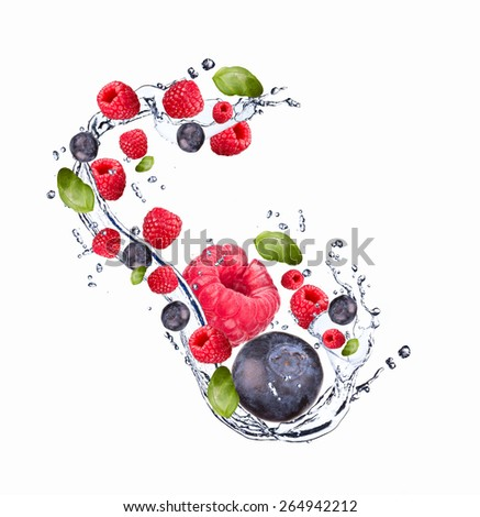 Fresh fruit in water splash, berry in motion, falling fruit in water