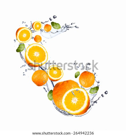 Fresh fruit in water splash, falling orange  - stock photo