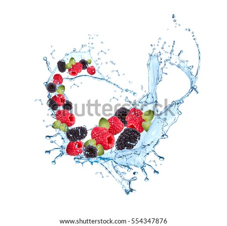 Fresh fruit in water splash, falling raspberry and blackberry, Abstract water splash with fresh fruits