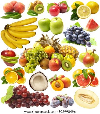 Fresh fruit isolated - stock photo