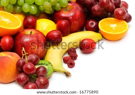 Fresh fruit isolated on a white background - stock photo