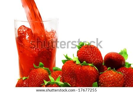 fresh fruit  juice. on white isolated. - stock photo
