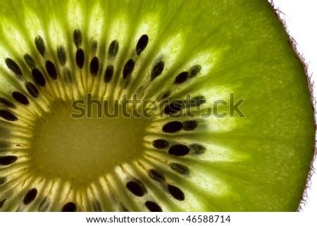 Fresh fruit kiwi slice macro shooting isolated over white background - stock photo