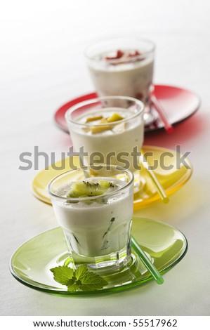 Fresh fruit milk shakes close up shoot - stock photo
