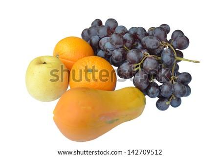 Fresh fruit on white background. - stock photo