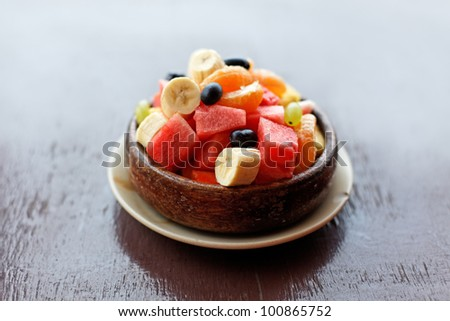 Fresh fruit salad on the table - stock photo