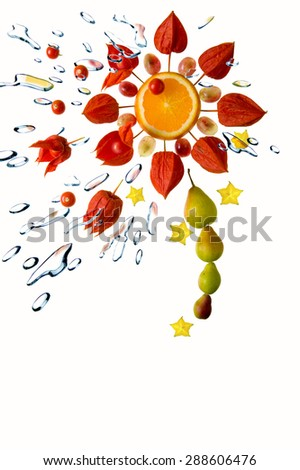 Fresh fruit, vegetables and green leaves with water splash, isolated on white background - stock photo