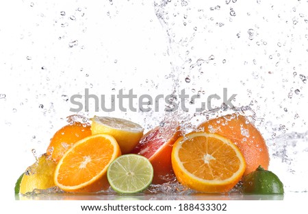 Fresh fruit with water splash - stock photo