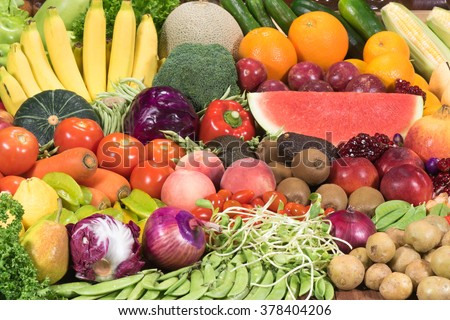 Fresh fruits ad vegetables for healthy - stock photo