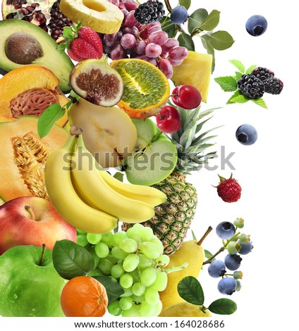 Fresh Fruits And Berries Collection Isolated On White - stock photo