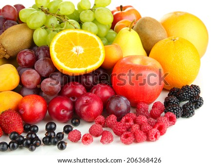 Fresh fruits and berries isolated on white - stock photo