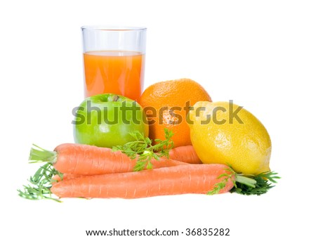 fresh fruits and carrot with  glass of  multivitamins juice isolated on a white background - stock photo