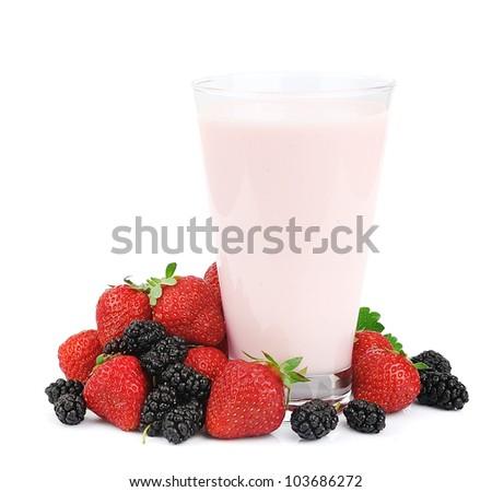 Fresh fruits and smoothies on white - stock photo