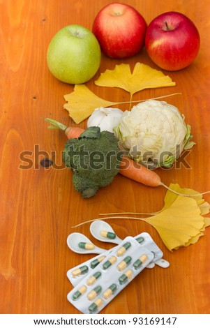 Fresh fruits and vegetables are the basis of healthy eating and you do not need atibiotics - tablets !!! - stock photo