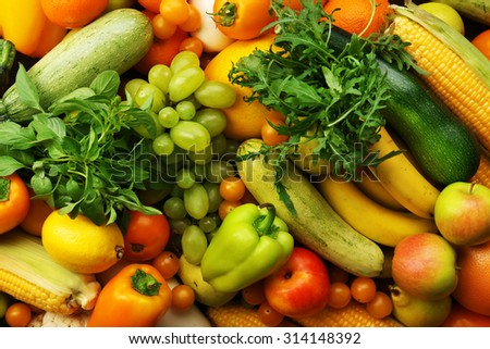 Fresh fruits and vegetables background - stock photo