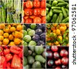 Fresh fruits and Vegetables collage. Health Concept. Healthy Living - stock photo