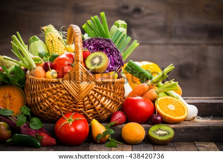 Fresh fruits and vegetables in the basket - stock photo