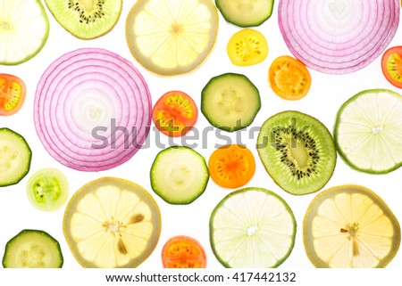 fresh fruits and vegetables pattern - stock photo