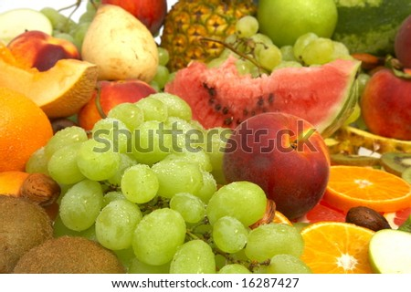 fresh fruits as background