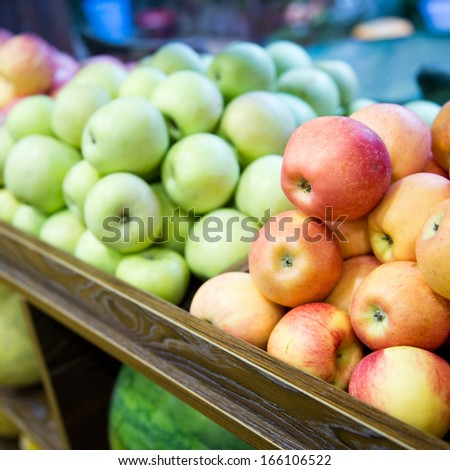 Fresh fruits at a fruit store. - stock photo