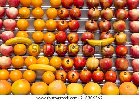 Fresh fruits at a market table - stock photo