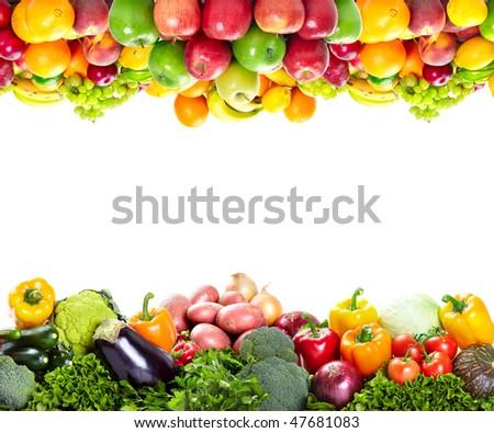 Fresh fruits: banana, orange, apple, grape, peach, lemon, lime, strawberry, kiwi, frame - stock photo