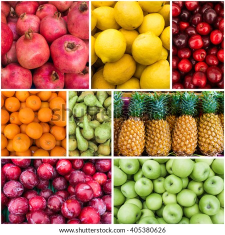Fresh fruits. Collection of fruits.  Collage with different fruits - stock photo