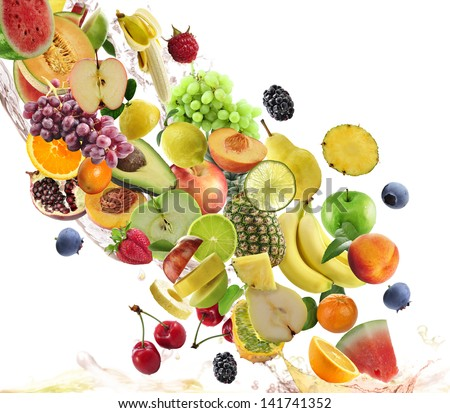 Fresh Fruits Collection On White Background - stock photo