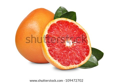 fresh fruits grapefruit in cut isolated on white background