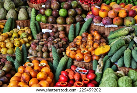 Fresh fruits in Mercado Dos Lavradores  Funchal, Madeira - stock photo