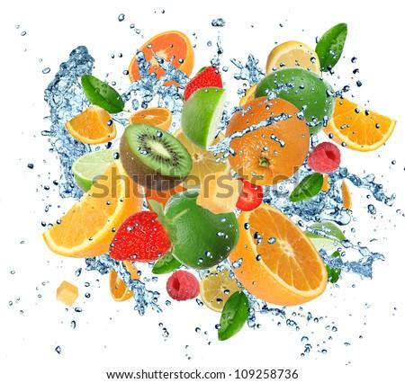 Fresh fruits in water splash, isolated on white background - stock photo