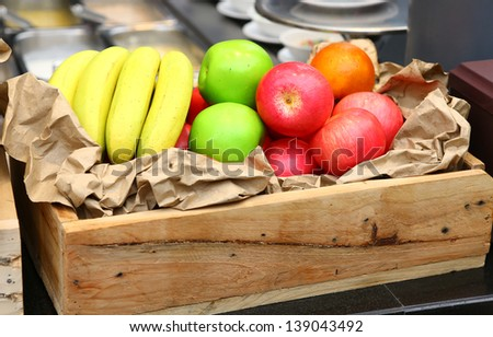 Fresh Fruits in wooden