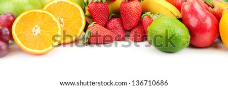 fresh fruits isolated on a white - stock photo