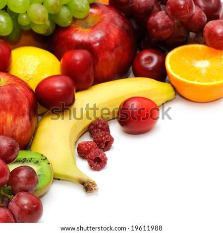 Fresh fruits isolated on a white background - stock photo