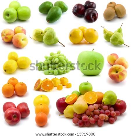 fresh fruits isolated on the white background - stock photo