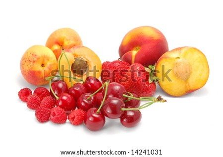 Fresh fruits isolated on white
