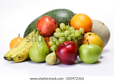 Fresh fruits isolated on white for backgrounds - stock photo