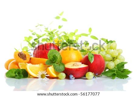 fresh fruits on a white isolated background - stock photo