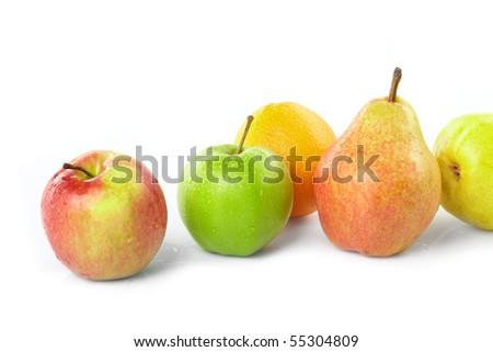 fresh fruits on the white - stock photo