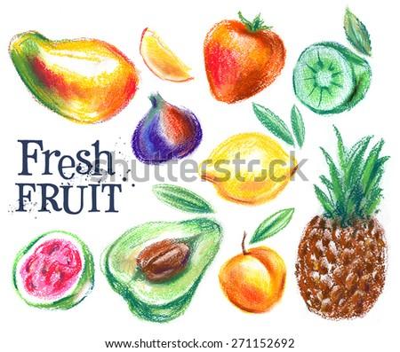 fresh fruits on white background. gardening, horticulture - stock photo