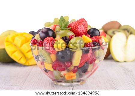 fresh fruits salad in bowl - stock photo