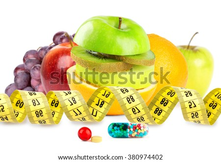 Fresh fruits with vitamins on white background. Diet