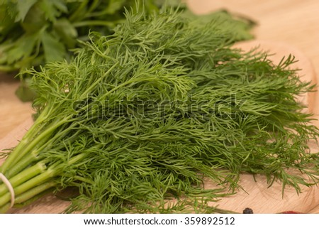 Fresh Garden Dill And Parsley Herbs