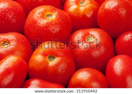 Fresh garden red tomatoes. Closeup texture - stock photo