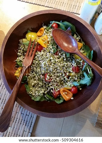 Fresh garden salad in vintage wooden bowl