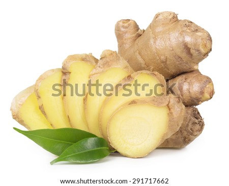 Fresh ginger isolated on a white background. - stock photo