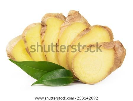 Fresh ginger isolated on white background - stock photo