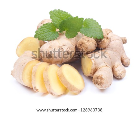 Fresh ginger on white ground