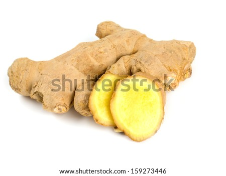 fresh ginger root isolated on white - stock photo